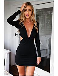 Sexy / Informell V-Ausschnitt - Langarm - FRAUEN - Kleider ( Baumwolle / Baumwoll Mischung )