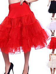 Unterhosen A-Linie Knielänge 3 Organza Weiß Schwarz Rot Elfenbein