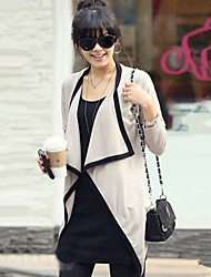 YUYI Women's Solid Color Green / Beige Coats & Jackets , Casual Stand Long Sleeve