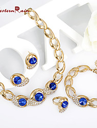 WesternRain Blue Crystal Jewelry Set Gold Plated Jewelry Set With Crystal Necklace For Bridal Bridal Wedding Party