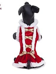 Cães / Gatos Casacos / Vestidos Vermelho Inverno Laço Natal / Ano Novo