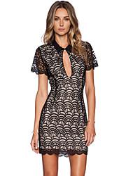 Women's Lacy Fish Scale Fashion Mini Dress