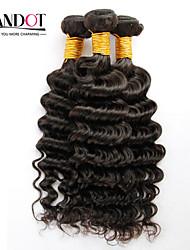 """4шт много 12 """"-30"""" необработанные сырьевые монгольские глубокая волна фигурные девственные волосы утки натуральный черный Реми"""