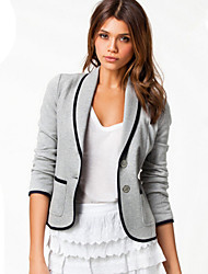 Ice  Women's Color Block Black / Gray Coats & Jackets , Bodycon / Casual Tailored Collar Long Sleeve