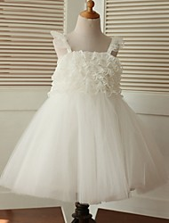 A-line Knee-length Flower Girl Dress - Lace / Tulle Sleeveless Straps with