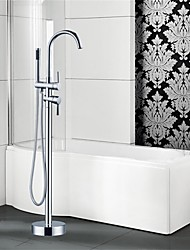 Art Deco/Retro Floor Mounted Floor Standing with  Ceramic Valve Two Handles One Hole for  Chrome , Bathtub Faucet