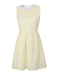 Women's Solid / Lace Yellow Dress , Vintage / Lace Round Neck Sleeveless