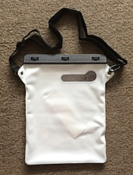 12 pulgadas ipad aire / ipad 2/3/4 bolsa seca a juego con clip de abs, correa para el hombro y el ipad con handholder blanca oblicua