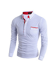 Men's Long Sleeve Polo , Cotton Blend Casual / Work / Formal / Sport / Plus Sizes Print / Pure