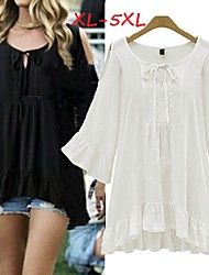 Women's Solid White/Black Plus Size Tops & Blouses , Casual V-Neck ½ Length Sleeve