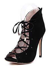 Women's Shoes PVC Spring / Fall Heels Dress / Casual Stiletto Heel Chain / Lace-up Blue