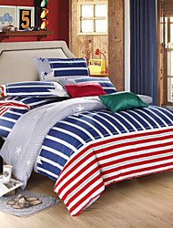 Mingjie® Blue and Red Strips Queen and Twin Size Sanding Bedding Sets 4pcs for Boys and Girls Bed Linen China Wholesale