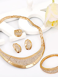 Chunky Big Jewelry Gold Plated African Wedding Fashion Jewelry Set For Women with Charms Earrings alloy jewelry Dubai
