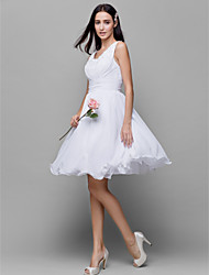 Knee-length Chiffon Bridesmaid Dress A-line Scoop with Beading / Ruching