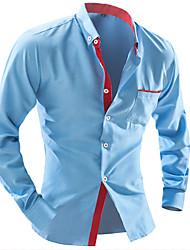 Men's Shirt Collar Casual Shirts , Cotton / Rayon Long Sleeve Vintage / Casual Fashion All Seasons reason
