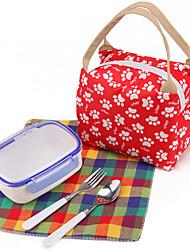 almuerzo lienzo bolsas bolsa de transporte de picnic al aire libre portables de valija diplomática bolso ocasional (color al azar)