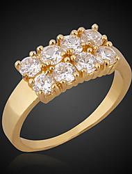 Bettr 18K Gold Vacuum Plating Gold Retro Simple Couple Rings(Mosaic Zircon)