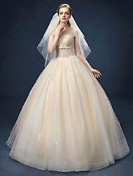 Ball Gown Wedding Dress - Champagne Floor-length Sweetheart Organza