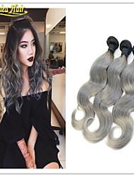 venta caliente de plata gris extensiones de cabello humano ombre 3 PC 1b gris pelo recto bicolor ombre pelo virginal brasileño