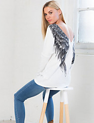 DUIQI Women's Print White Tops & Blouses , Vintage / Sexy / Bodycon / Print / Party / Work Round Long Sleeve