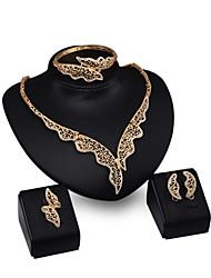 Ensemble de bijoux Strass Alliage Ailes / Plume Or Mariage Soirée 1set 1 Paire de Boucles d'Oreille 1 Bracelet Colliers décoratifs Anneaux