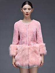 Women's Fashion Bodycon Fox Fur Spliced Genuine/Real Natural Lamb Fur Coat/Jacket