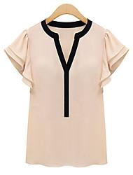 V-hals - Chiffon - Geborduurd / Ruche - Vrouwen - T-shirt - Korte mouw