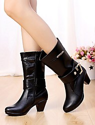 Women's Shoes AmiGirl New Fashion Hot Sale Leather Chunky Heel Fashion Boots Outdoor / Casual Black / Brown