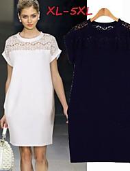 Women's Lace Blue/White/Black Dresses , Lace/Work Round Short Sleeve