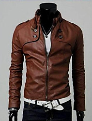 Men's Stand Coats & Jackets , Leather Long Sleeve Casual / Work Fashion All Seasons Jasin