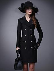 Women's Striped Black / Almond Coat , Casual / Work Long Sleeve Cotton