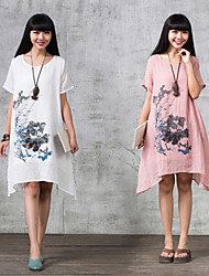 Large size   Women's Floral White Dresses , Casual Round Short Sleeve