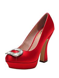 Women's Wedding Shoes Heels/Platform/Closed Toe Heels Wedding/Party & Evening/Dress Black/Red/White/Champagne