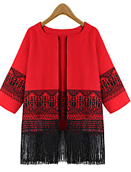 Yana Women'S Long Section Of Loose Knit Cardigan Sweater Shawl Fringed Jacket Big Yards