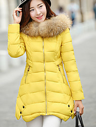 Women's Popular Fur Hooded A Line Down Coat , Casual/Work Long Sleeve