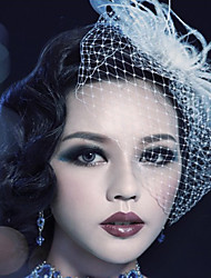 Women's Feather Tulle Headpiece Birdcage Veils