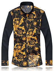 Men's Long Sleeve Shirt , Cotton/Microfiber Casual/Work Print  Flower shirt 5XL 6XL 7XL