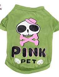 Cat Dog Costume Shirt / T-Shirt Outfits Dog Clothes Cosplay Wedding Halloween Cartoon Skulls Green