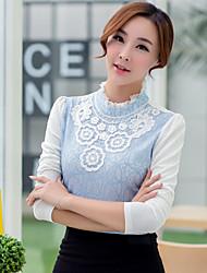 Mulheres Camiseta Colarinho Chinês Manga Longa Franjas Renda / Algodão Mulheres