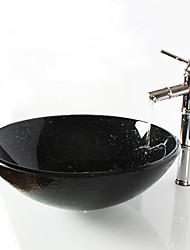 Black Round Tempered Glass Vessel Sink with Bamboo Faucet ,Pop - Up Drain and Mounting Ring