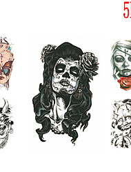 (5PCS) 2015 Latest Version High Quality Personality Waterproof One-Time Tattoo Stickers——Skull Beauty And Devil