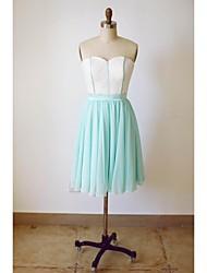 Knee-length Chiffon / Lace Bridesmaid Dress A-line Sweetheart with Sash / Ribbon