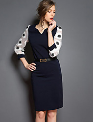 Women's Solid / Patchwork Black / Navy Blue Dress , Sexy / Bodycon / Work V Neck Long Sleeve