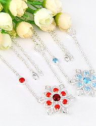 Love Fire Blue Topaz Red Quartz Gem 925 Silver Snowflower Shaped Chain Necklaces For Wedding Party Daily 1pc