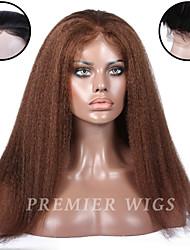 premierwigs 8 '- cabelo humano brasileiro laço completo virgem reta 24''kinky perucas frente perucas base de seda do laço para as mulheres