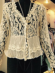 Women's Casual/Lace Inelastic Long Sleeve Regular Blouse (Lace)