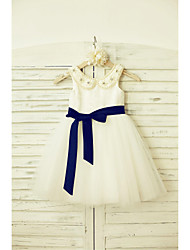 Princess Knee-length Flower Girl Dress - Lace Satin Tulle Jewel with Bow(s) Sash / Ribbon