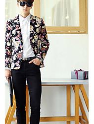 Masculino Blazer Médio Estampado Tweed Manga Comprida Masculino