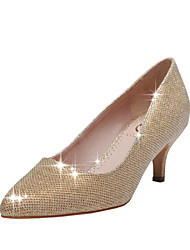 Women's Spring / Summer / Fall Pointed Toe / Closed Toe Glitter Wedding / Dress / Party & Evening Low Heel Sparkling Glitter Red / Gold