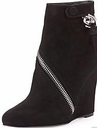 Zapatos de mujer - Tacón Cuña - Botines - Botas - Oficina y Trabajo / Vestido / Fiesta y Noche - Vellón - Negro